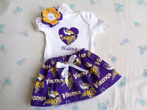 e259a1420 Image is loading Minnesota-Vikings-Baby-Girl -Skirt-Personalized-Bodysuit-and-