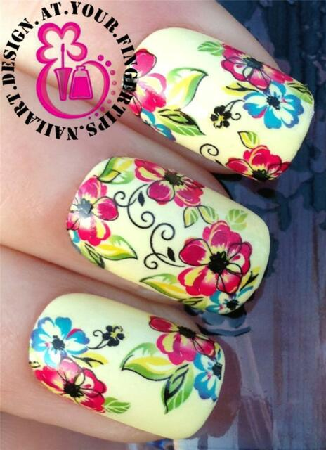 HOT SALE NAIL ART WRAPS WATER TRANSFERS STICKERS DECALS SCRIBBLE FLOWERS #213
