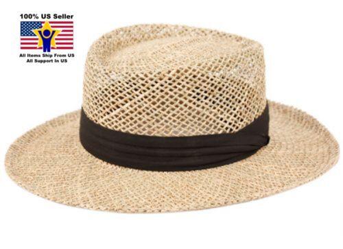 F2272 Epoch Caribbean Gambler Sweatband Cuban Beach Straw Panama Mens Hat SPF 50