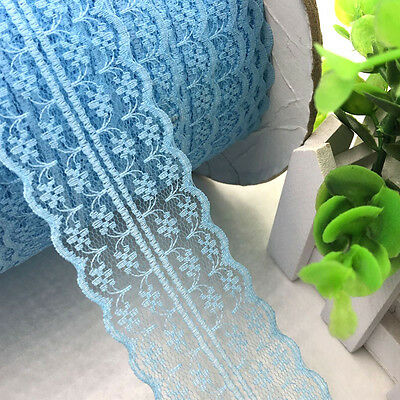 10/20Y Blue Color wide embroidered lace trimming wedding appliques Craft LC17