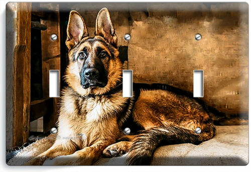 GORGEOUS ADULT GERMAN SHEPHERD DOG TRIPLE LIGHT SWITCH WALL COVER NEW ROOM DECOR