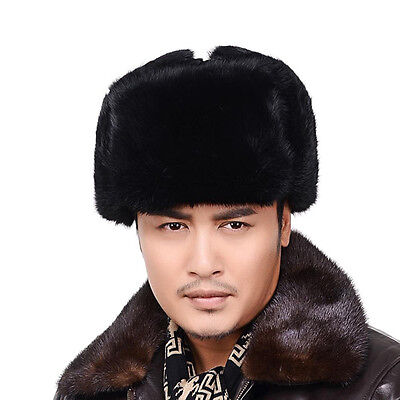 Hiver Ouchanka Russe Style Fourrure lapin CHAPKA Chaud Homme Unisexe Ski