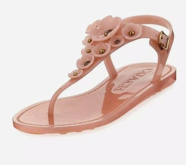 5f3660c72 Women Coach Tea Rose Multi Jelly Buckle Up T-Strap Flat Sandal Peony MSRP   95