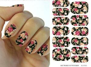 Classic Black Rose Nail Shape Art Sticker Sheet Decal Decoration
