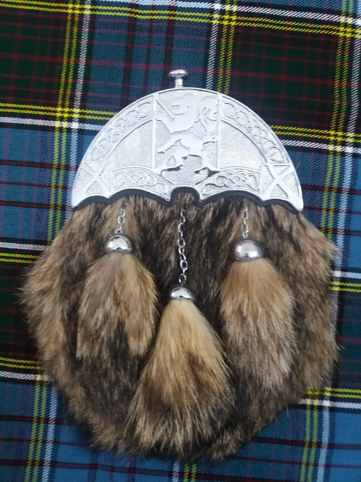 Scottish Leather Full Dress Kilt Sporran Foxfur Lon Rampant Chrome Finish Cantel