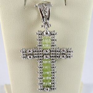 925 sterling silver cross pendant with peridot multi wire and balls image is loading 925 sterling silver cross pendant with peridot multi mozeypictures Gallery