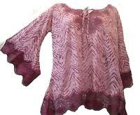 Zashi Berry Burnout Lace Soft Knit Top Tunic S Check Measurments Free Shipp