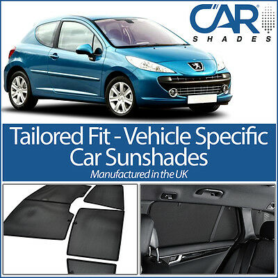 Peugeot 207 5dr 06 UV CAR SHADES WINDOW SUN BLINDS PRIVACY GLASS TINT BLACK