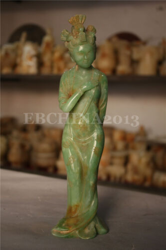 "11/"" Chinese Old Green Jade Hand-carved Ancient Beautiful Girl Woman Sculpture"