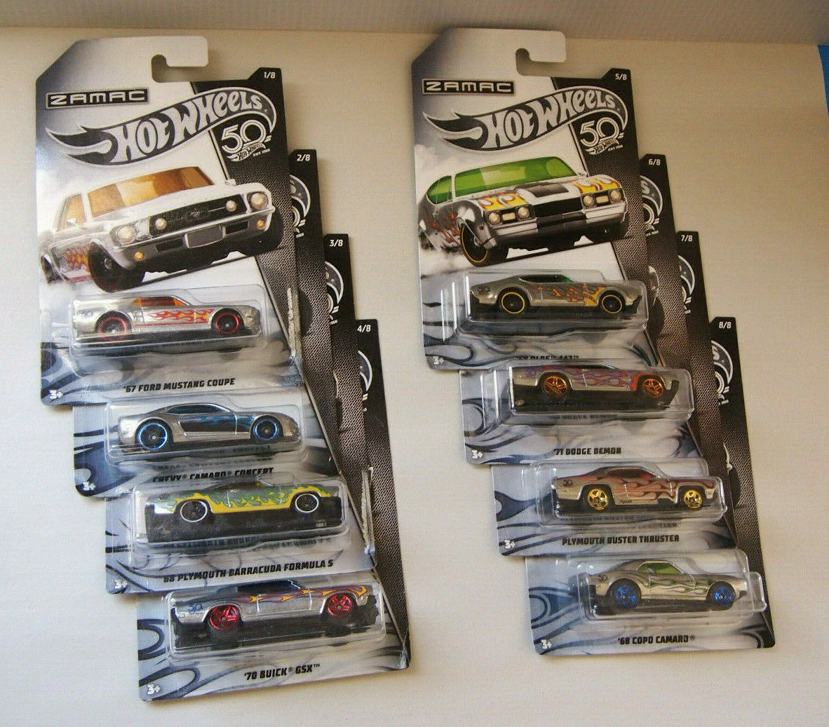 HOT WHEELS 1 64  ZAMAC SERIES SET 1-8 - MUSCLE CARS