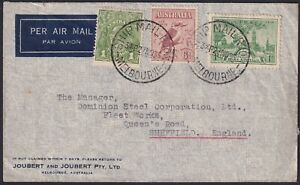 1936-Airmail-cover-to-England-In-period-1-6d-attractive-franking
