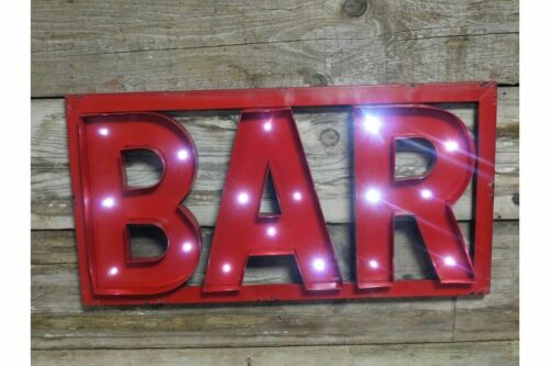 Large LED Metal Red Bar Wall Art Vintage Style Sign Bar Man Cave Plaque
