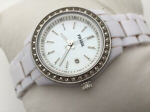 Fossil-Ladies-Watch-White-Band-Date-Calendar-Crystal-Accent-Bezel-Analog-Watch