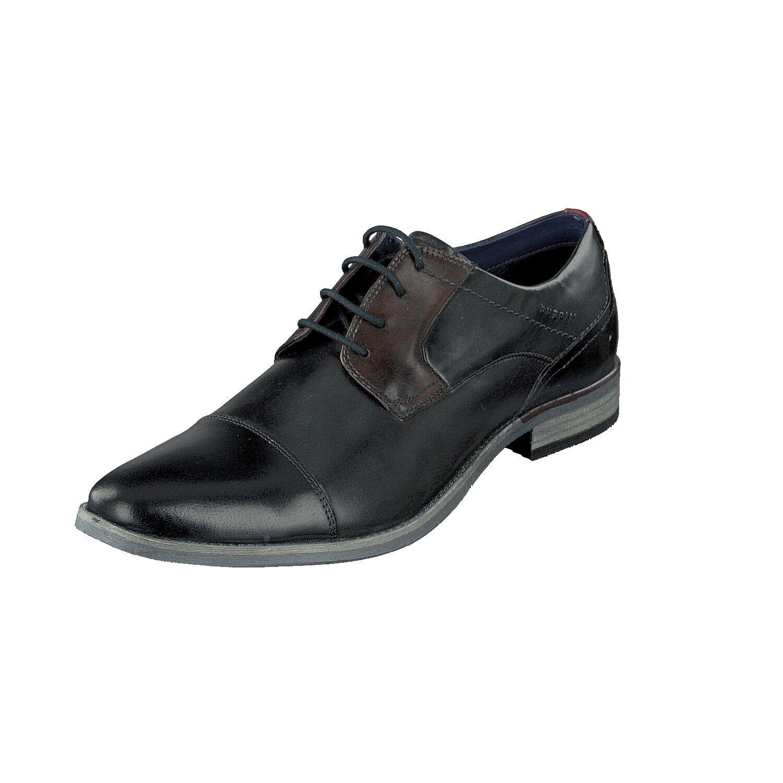 Bugatti Men 312-16411-2121 Herren Business Schuhe Schnürer Leder Dark Blau grau