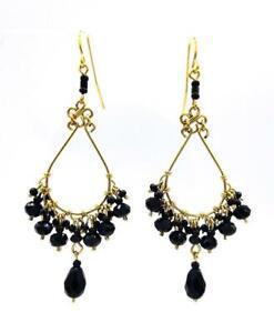 GORGEOUS-Artisanal-Lightweight-Black-Onyx-Crystals-Gold-Chandelier-Earrings