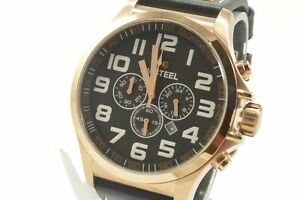 TW-Steel-TW419-Pilot-Rose-Gold-PVD-Leather-Strap-Chronograph-Men-039-s-Watch