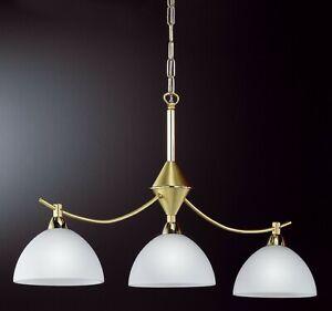 Esstischleuchte messing klassisch Esstischlampe hängend 3 flammig Glas weiß E14
