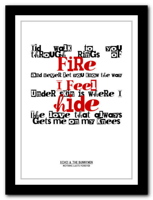 ECHO & THE BUNNYMEN - Nothing Lasts - song lyric poster art print - 4 sizes