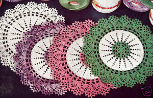 Vintage Crochet Pattern To Make Thread Doily Mat Centerpiece Motif