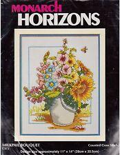 Milkpail Bouquet Flowers Floral Sunflower Cross Stitch Kit Monarch Horizons CS72