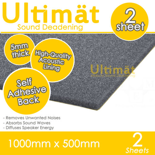 Ultimat 2 Sheet Adhesive Pack Sound Proofing Deadening Foam Tiles 1000x500x5mm