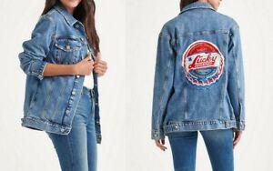 Lucky-Brand-Women-039-s-Patch-Boyfriend-Trucker-Jacket-Totally-Lucky-Blue-L-XL