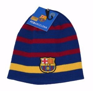 FC Barcelona Winter Fitted Cuffless Knit Beanie Hat Skully Cap NWT ... 6910eb96131