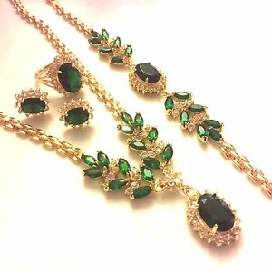 Set Green Emerald Gold Gf Matching Necklace Bracelet Earrings Ring