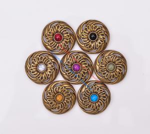10X-Western-3D-Flower-Turquoise-Conchos-For-Leather-Craft-Bag-Belt-Purse-Decor