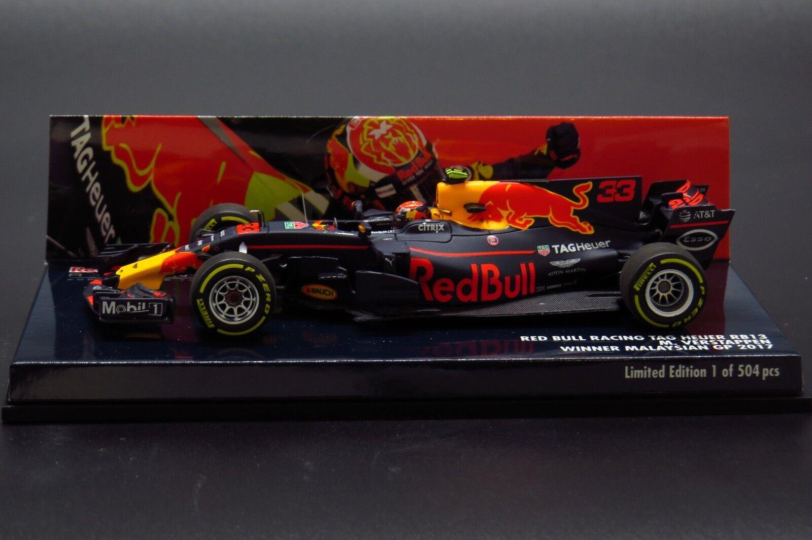 rojo Bull Racing Tag Heuer RB13 Max Verstappen Winner GP Malaysian 2017 1 43
