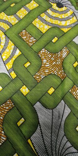 African print waxed fabric green black yellow grey 100/% cotton brown