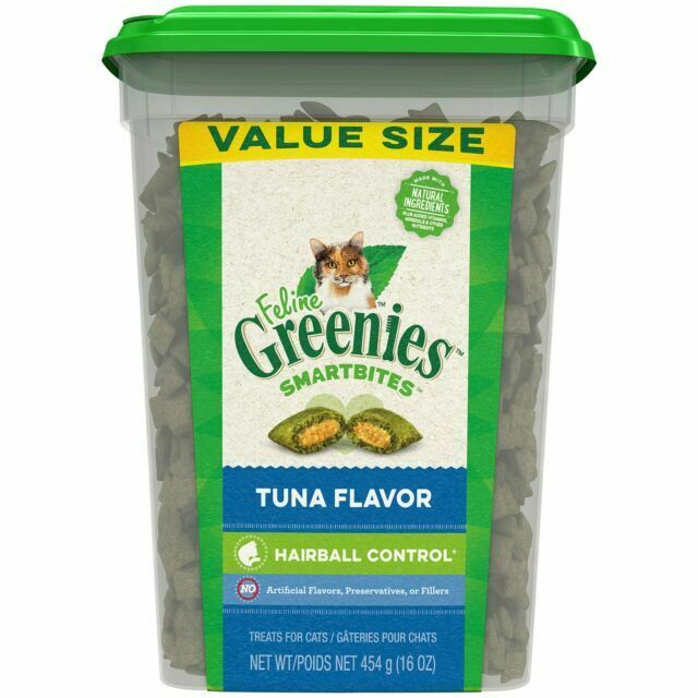 FELINE GREENIES SMARTBITES Tuna Flavor Hairball Control Treats - 16oz.