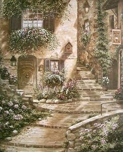 Betsy Brown: Via Rosa Fertig-Bild 55x70 Wandbild Dörfer Romantik Nostalgie
