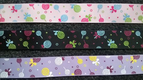 2 Metre Lollipop Print Grosgrain Ribbon ~25mm wide~Crafts,Cardmaking,Sweet Trees