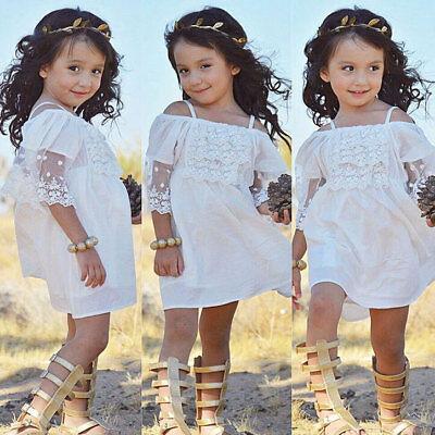 7223075e5 Vestidos Ropa de Moda Para Niña Casuales Elegante Encaje Linda de princesa  | eBay