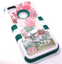 for iPhone 5c Vintage Flower Rose Paris France Green Hard &Soft Hybrid Skin Case