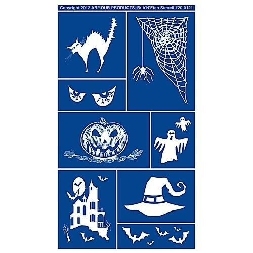 Armour Rub /'n/' Etch Glass Etching Stencil ~ Halloween 20-0121