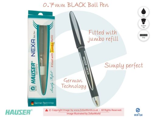 0.7mm HAUSER Nexa BLACK Smooth Writing Ballpoint Pen Fitted With Jumbo Refill