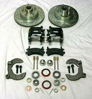 Mustang Ii Front Disc Brake Kit Slotted Chevy No Spindles Black Wilwood Calipers