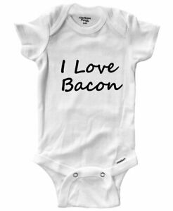 Baby Infant Bodysuit Outfit Gift Print Hilarious Love Bacon Funny