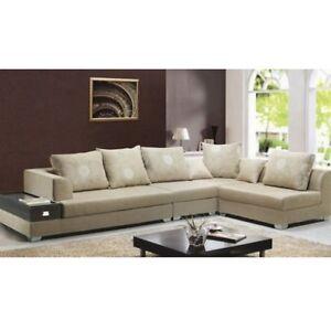 Dettagli su Divano soggiorno 340 cm stile moderno colore sabbia ad angolo  microfibra |02