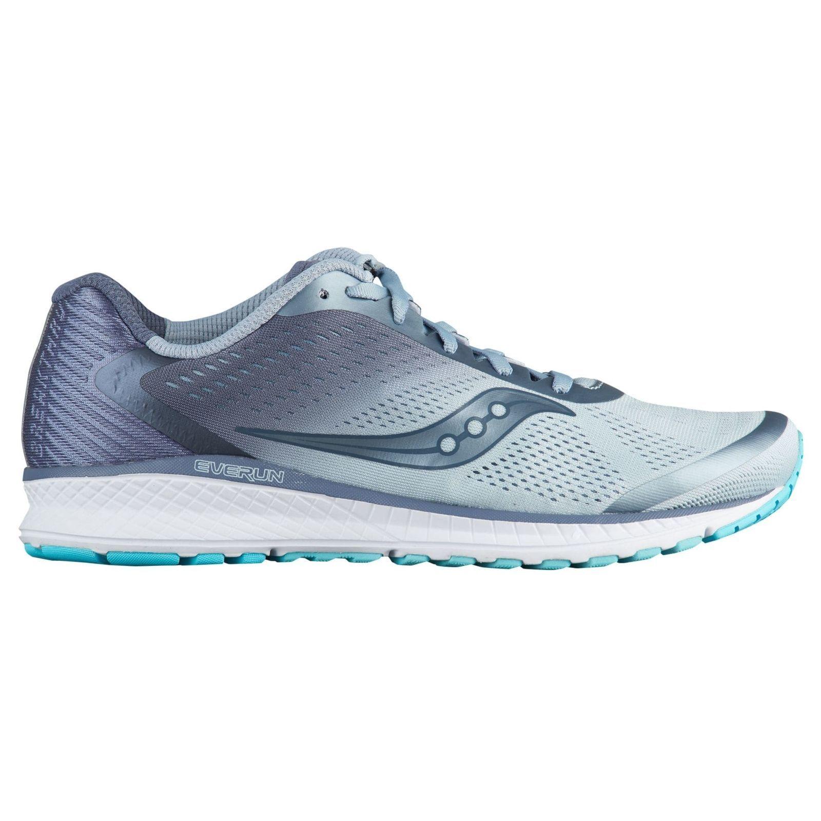 SAUCONY BREAKTHRU 4 Mujer Running zapatos (Talla 8) Niebla gris Azul 104191