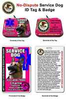 Service Dog Id Tag And Badge Combo Custom Photo Id For Pet Pink
