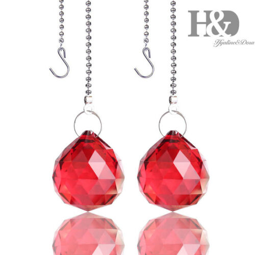 Set2 Red Crystal Ball Prism Pendant Chandelier Lamp Parts Suncatcher Home Decors