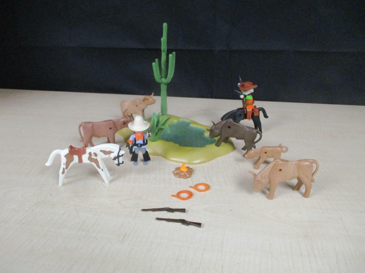 Playmobil RARE Western Water Hole 3801 w Long Horn Cattle, Cowboys 95% complete