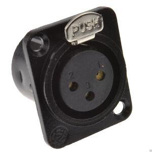XLR-Socket-Microphone-Chasis-Panel-Mount-Solder-Terminal-Black-Metal