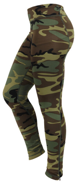 Womens Ladies Woodland Workout Army Camo PERFORMANCE Yoga Snug Leggings Pants