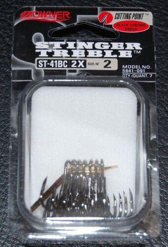 OWNER BLACK CHROME STINGER 2X Treble Hooks 5641-091 Size 2 Pack of 7