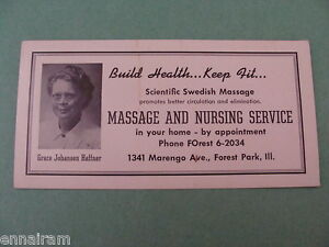 Swedish Massage & Nursing Service Advertising Ink Blotter Chicago suburb vtg #2