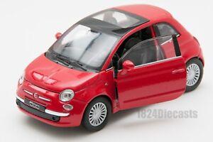 Fiat-500-Rojo-Welly-Escala-1-34-39-Modelo-del-Coche-de-Juguete-Regalo